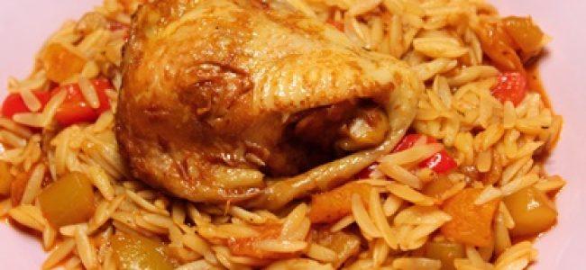 Kurczak w morelach z makaronem typu ryż