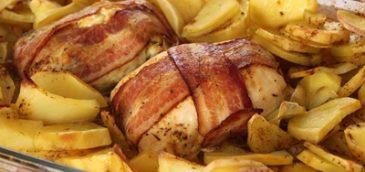 Kurczak w boczku nadziewany serem i porem